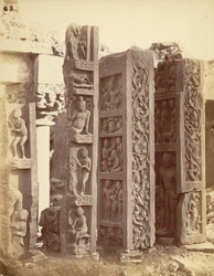 Side view of Buddhist railing pillars, found at Garhwa, Allahabad District